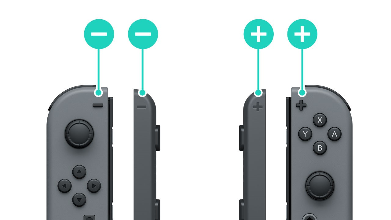 Nintendo Joy-Con and straps showing proper alignment with + and -