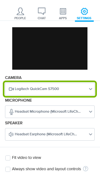 Selected camera highlighted in Settings of BlueJeans app.