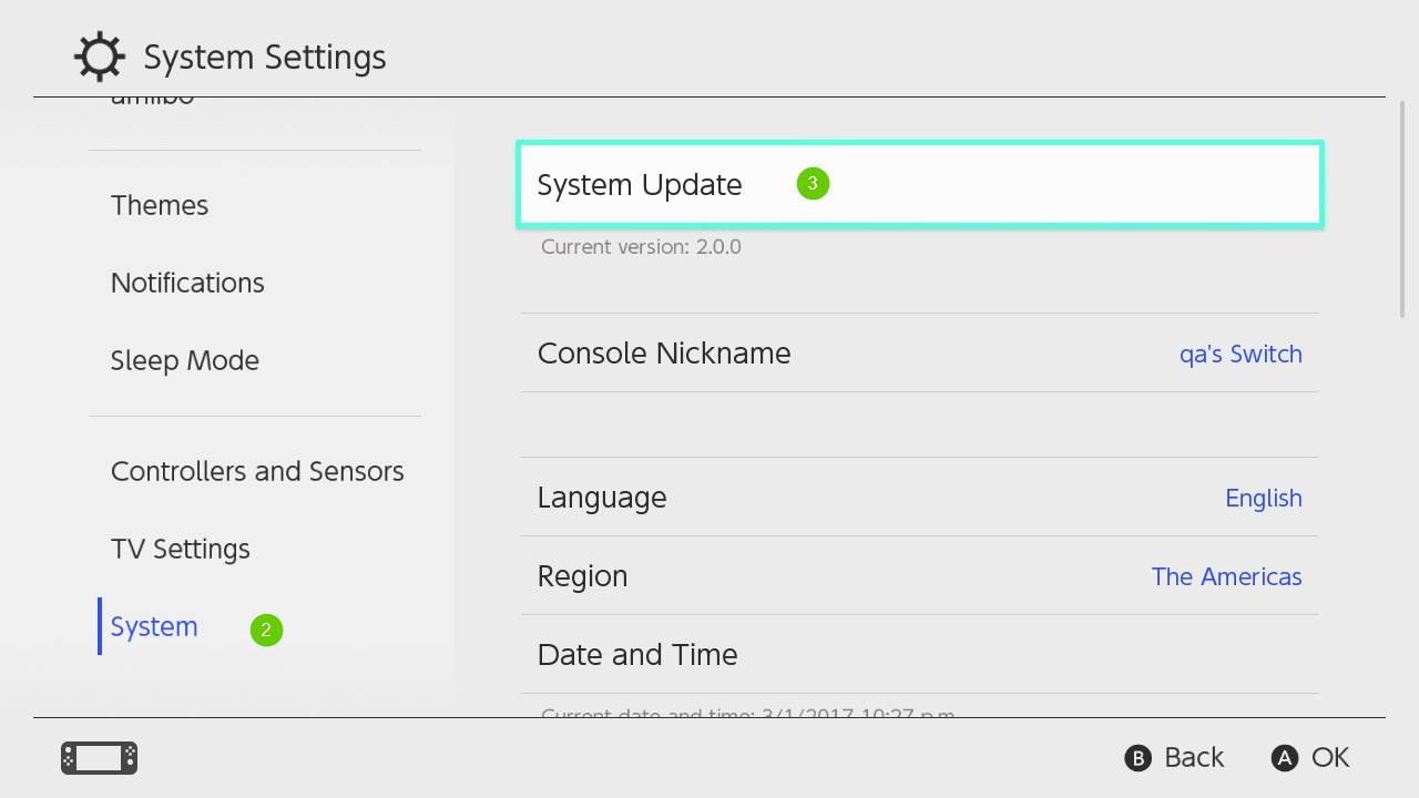 Nintendo switch system menu highlighting the system update option.
