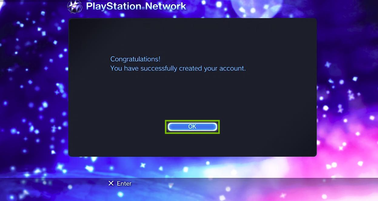 Success screen with OK button selected. Screenshot.