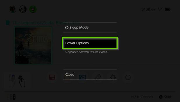 Nintendo Switch menu displaying power options.