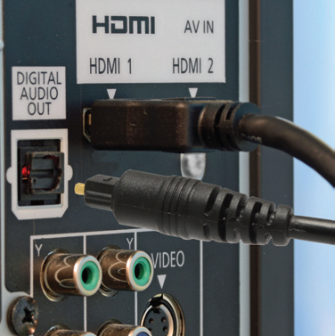 example optical cable on the back of a media player or tv