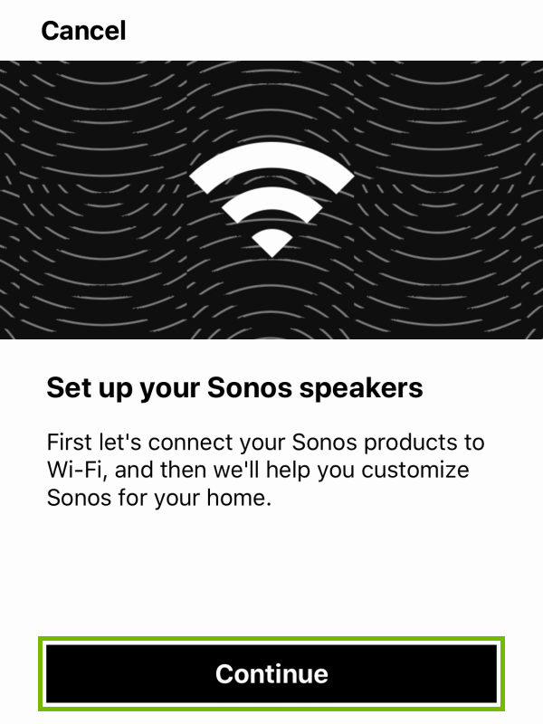 Continue button highlighted before player setup within Sonos app.