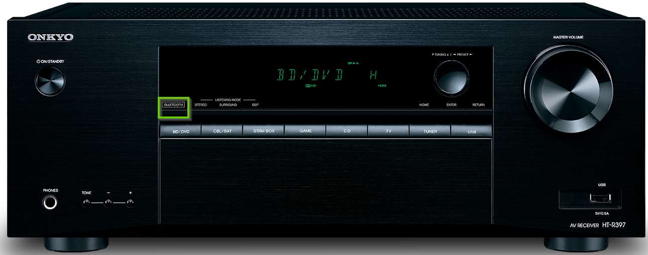 Onkyo receiver showing the bluetooth button