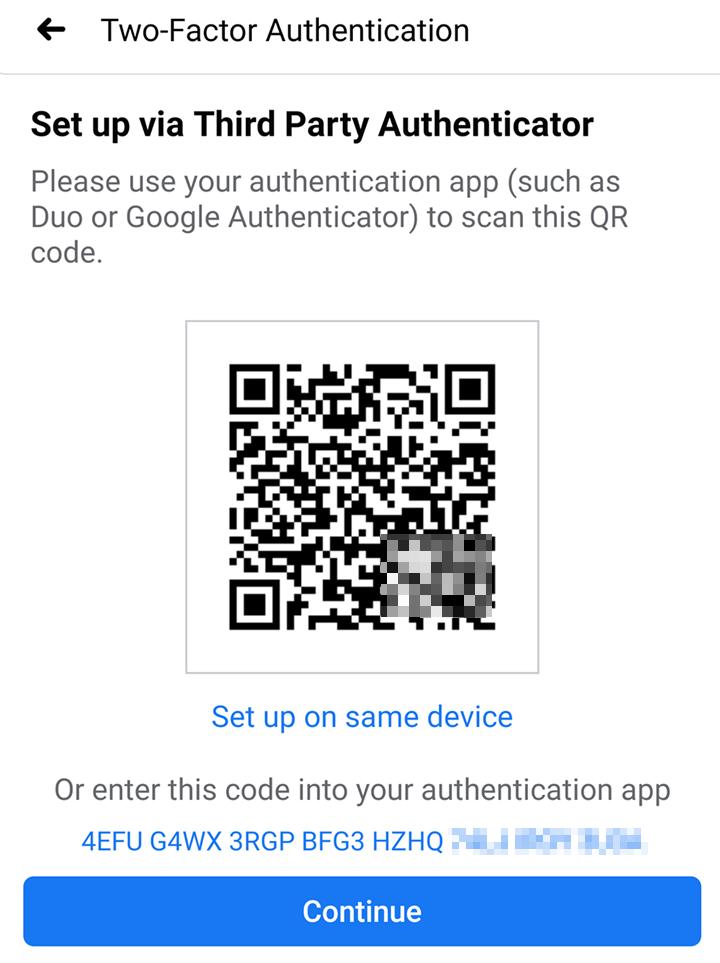 Set up via third party authenticator