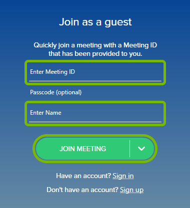 Meeting ID and Name fields, and Join Meeting button highlighted on the left side of BlueJeans app.
