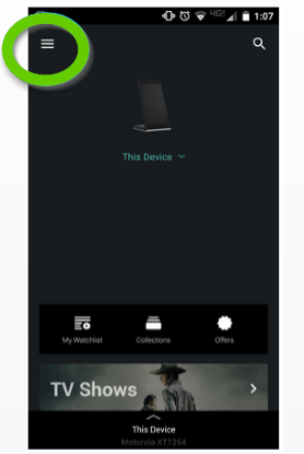 Smartcast app highlighting the menu button.