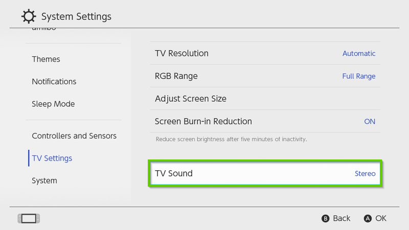 Nintendo Switch TV settings menu with TV Sound highlighted
