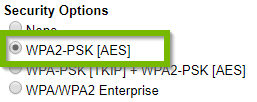 Security options with WPA2-PSK AES selected. Screenshot.