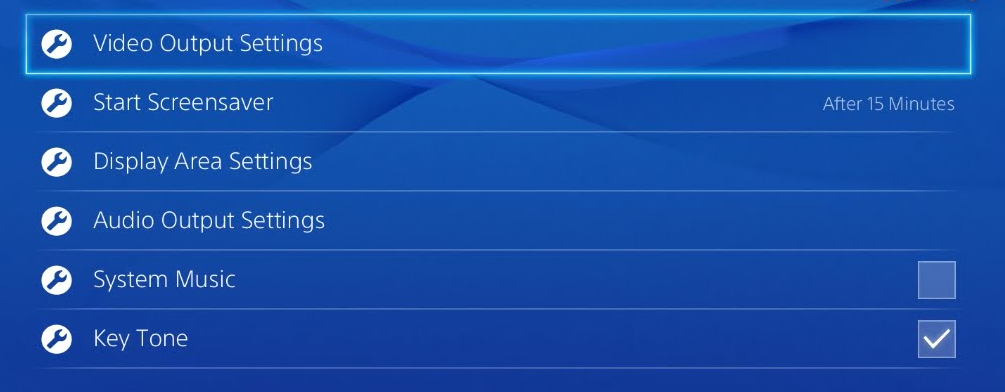 PS4 sound and screen settings page showing video output settings highlighted