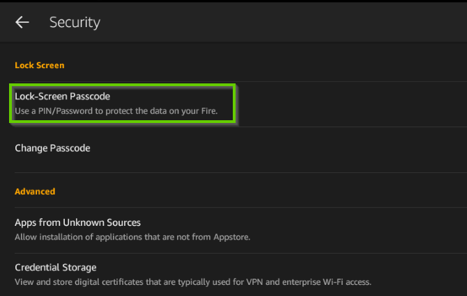 Security settings showing lock screen password highlighted.