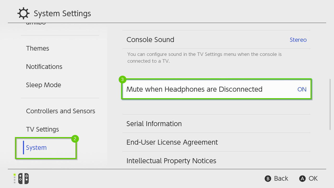 Nintendo switch system settings menu showing system and mute when headphones are disconnected highlighted