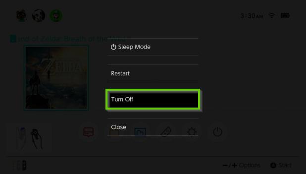 Nintendo Switch power options menu highlighting the turn off option.