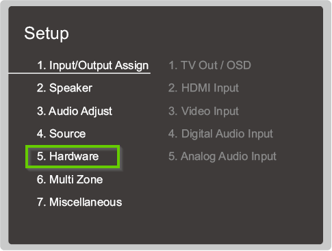 Onkyo setup menu highlighting the hardware option.