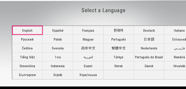 screen in which you select your language