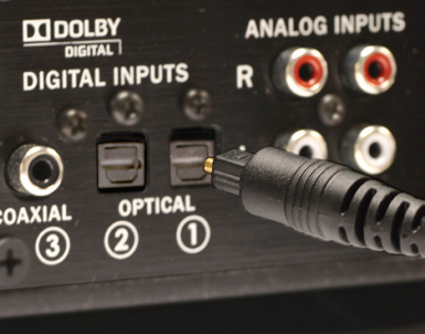 optical cable on back of sound base