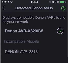 Denon remote app displaying a list of available AVR devices to choose from.