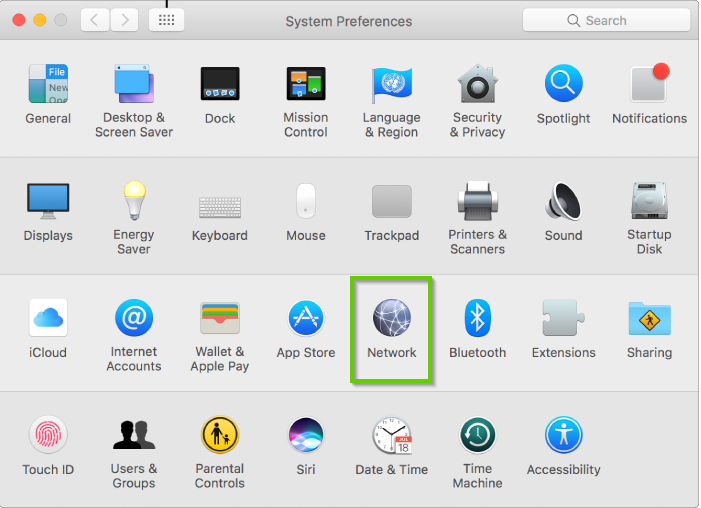 Apple system preferences with network highlighted.