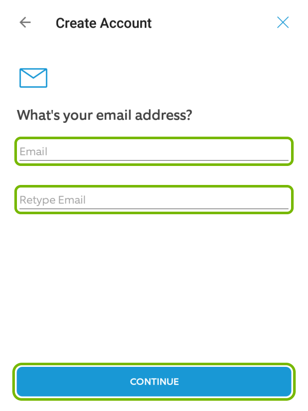 Email and Retype Email fields, and Continue button highlighted in Ring app during account creation.