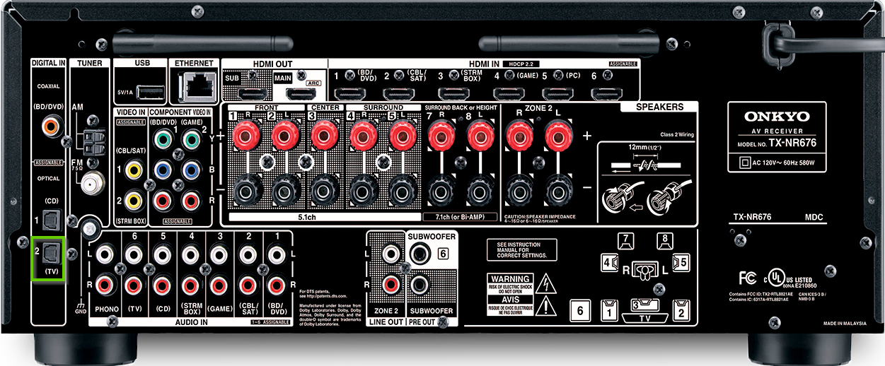 The back of an onkyo receiver showing the optical in port