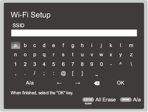 Onkyo wireless setup screen prompting the user to enter their Wi-Fi password.