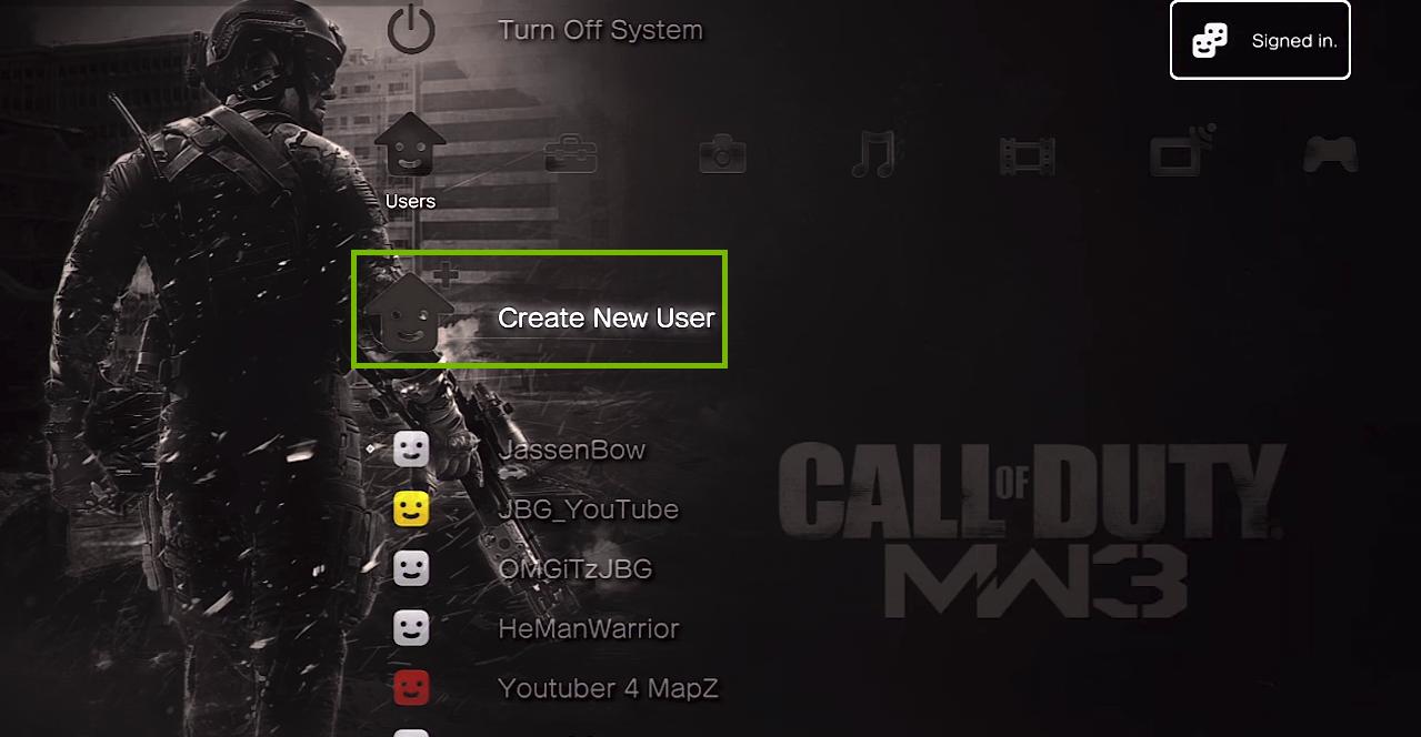 Users menu with Create New User selected. Screenshot.