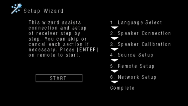 Denon receiver displaying the on-screen setup wizard.