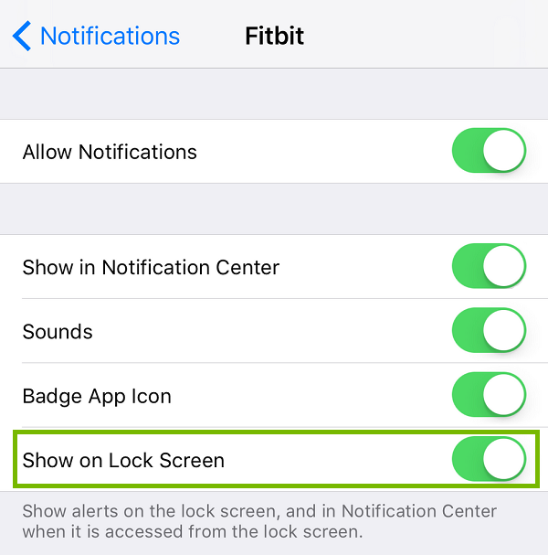Fitbit Notifications with Show on Lock Screen highlighted. Screenshot