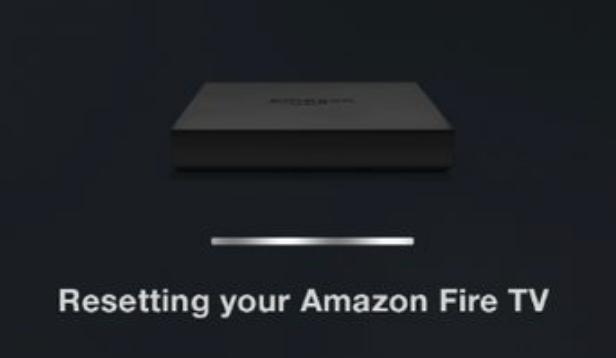 Amazon Fire TV factory reset progress screen.