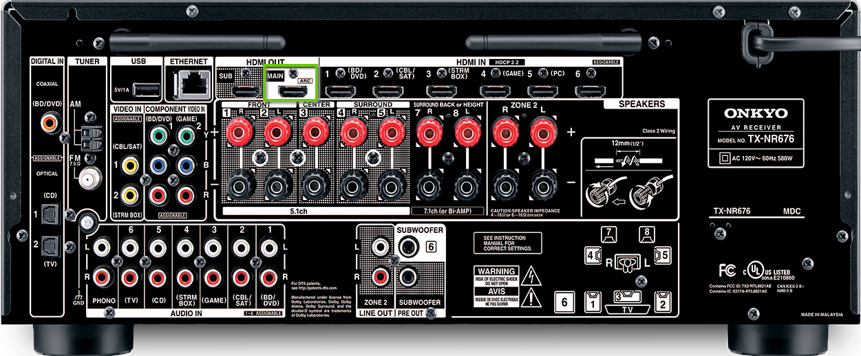 The back of an onkyo receiver showing the hdmi out port
