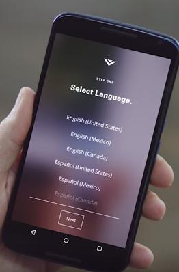 Smartcast app displaying language selection options.