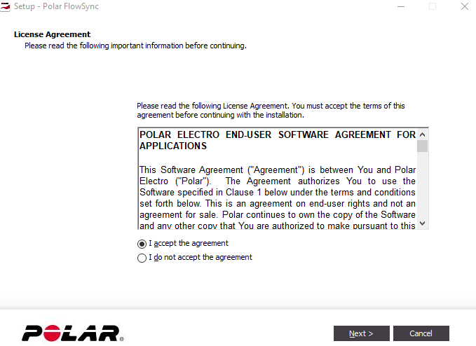 FlowSync License agreement. Screenshot.