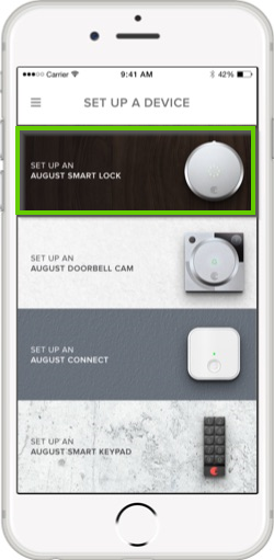 August home app set up a device screen highlighting the august smart lock device.