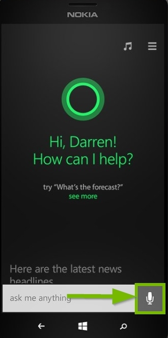 Cortana voice input screen with microphone highlighted. Screenshot.