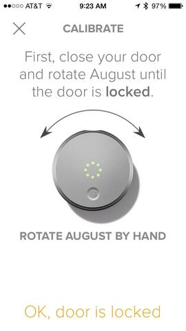 August home app lock setup screen prompting the user to calibrate the new lock.