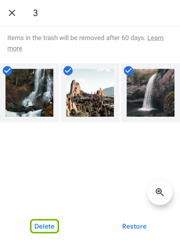 Delete option highlighted for selected files in Google Photos app Trash folder on Android.