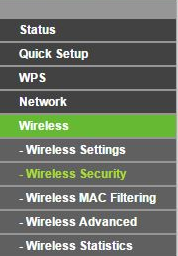 A router web menu showing Wireless Security.