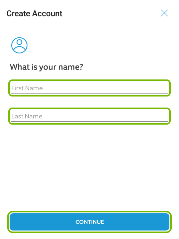 First and Last Name fields, and Continue button highlighted in Ring app during account creation.