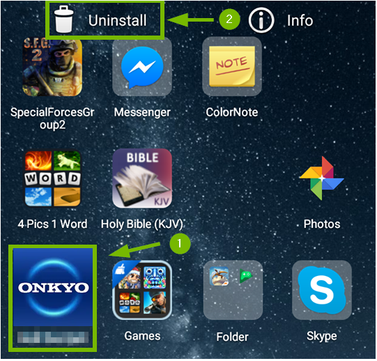 Android screen showing the uninstall tab and the onkyo icon.