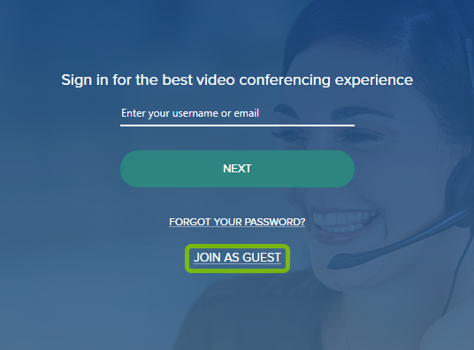 Join as Guest option highlighted on Sign In screen faded camera feed during first launch of BlueJeans app.