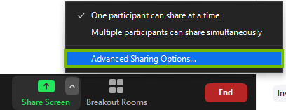 The advanced sharing options under share screen in the zoom menu