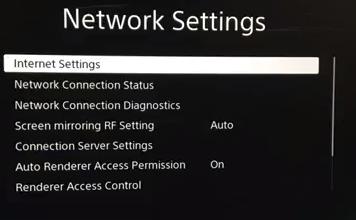 Network settings menu showing internet settings selected