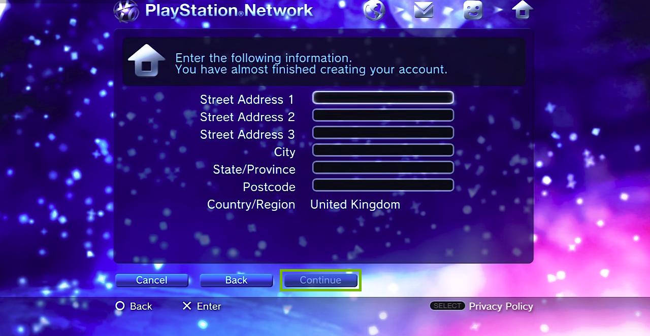 Filling in address information. Screenshot.