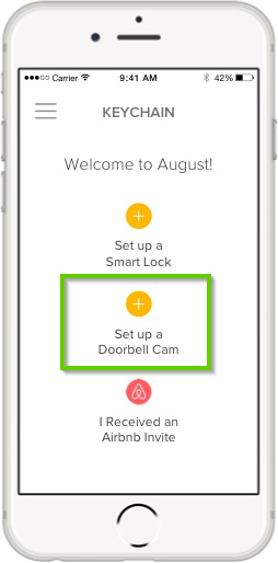August home app highlighting the set up a doorbell cam button.