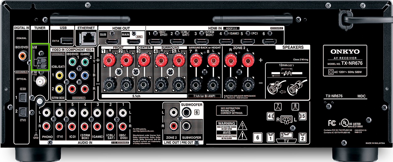 The back of an onkyo receiver showing the AM port