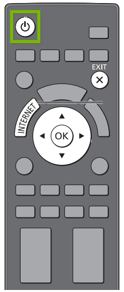 TV remote with power button highlighted. Illustration.