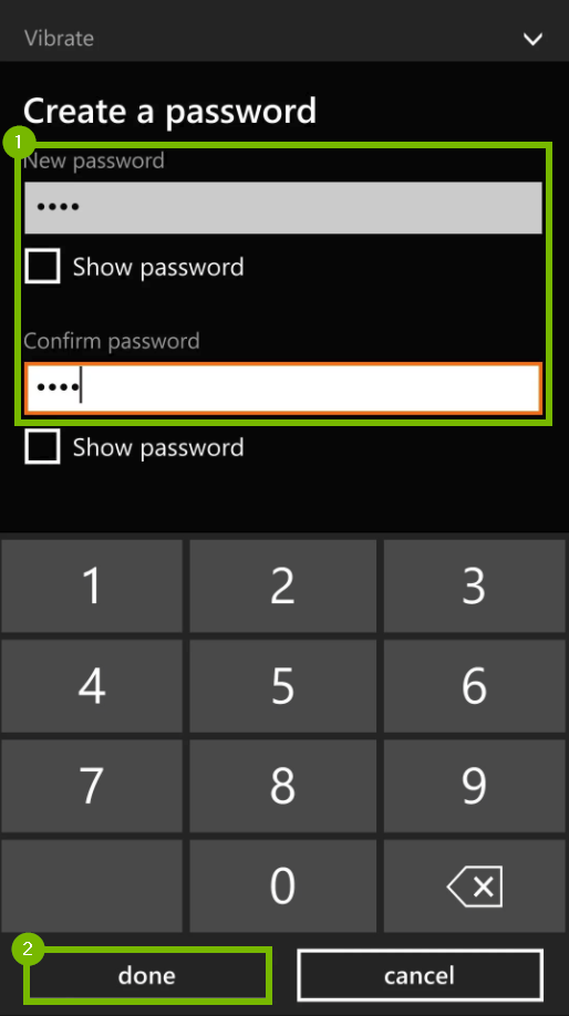 Password input screen. Screenshot.