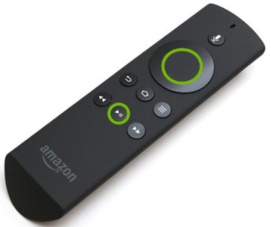Fire TV remote with Play Pause button highlighted.