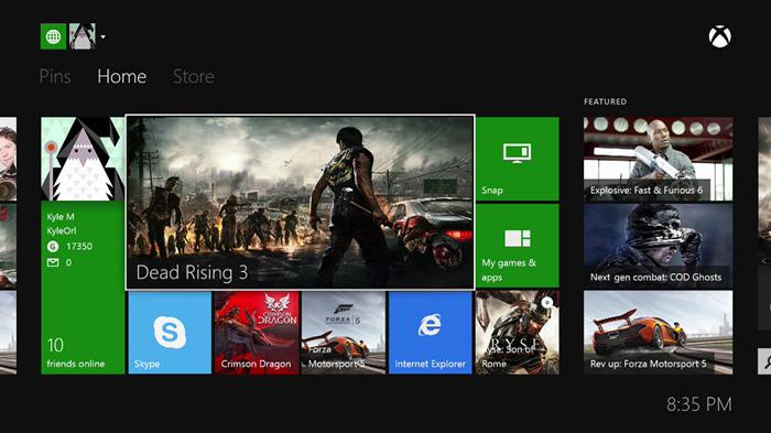 Xbox One home screen.