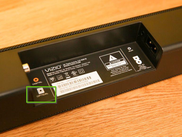 Vizio soundbar's optical audio connection.